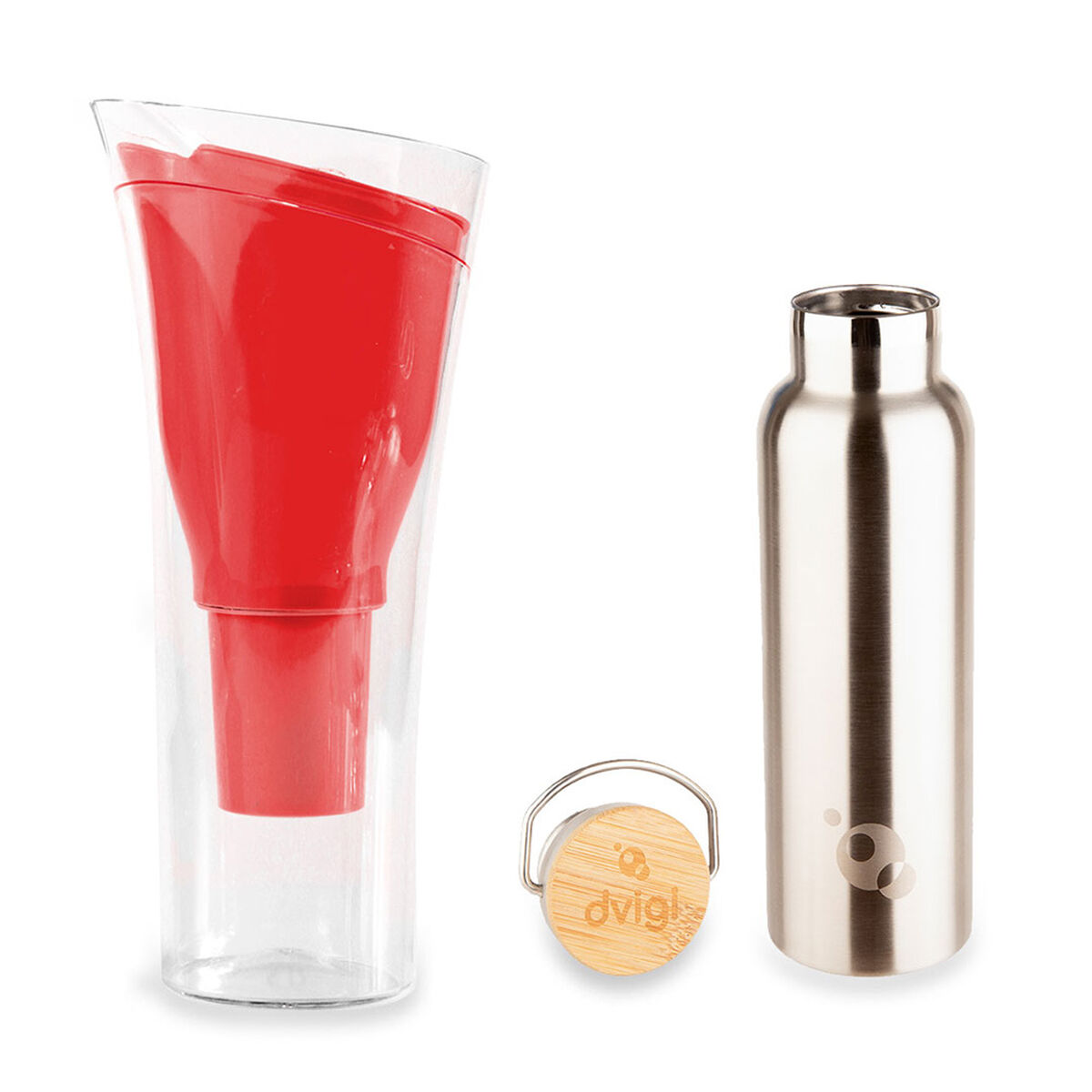 Jarro Purificador de Agua + Botella Benjamina Dvigi Rojo