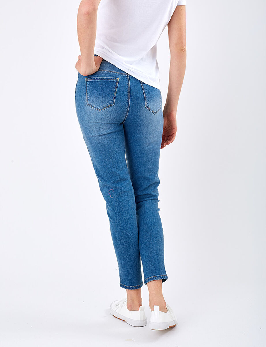 Jeans Flor Bordado Zibel