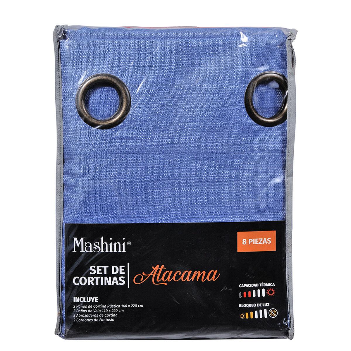 Set Cortina Jqd Rustica 8Pzas Argolla 140X220 Cm Atacama Azul