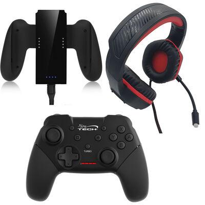 Combo Gamer Nintendo Switch Audifono + Gamepad Bluetooth + Joy Con Grip Njoytech