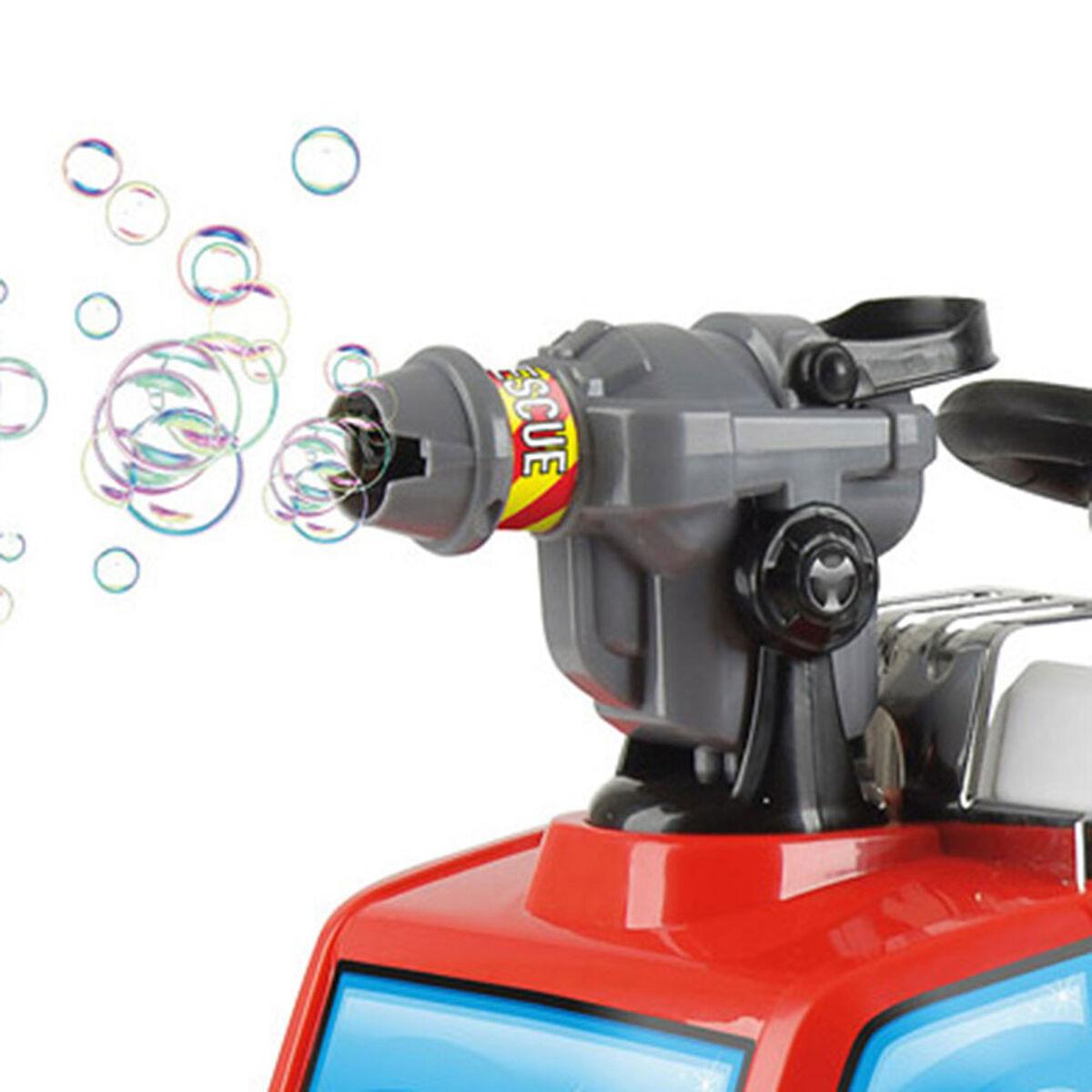 Auto Eléctrico Carro de Bomberos Lanza Burbujas
