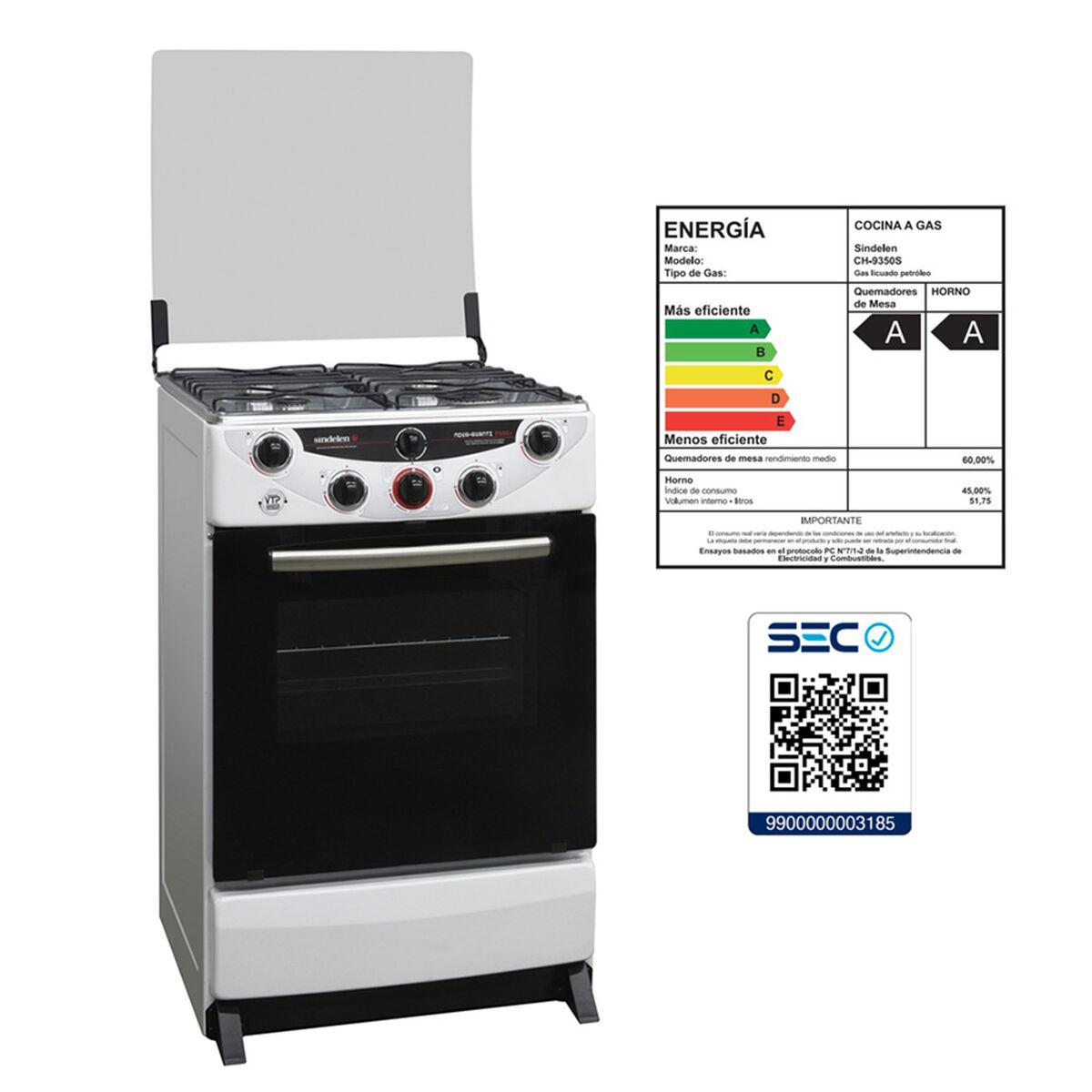 Cocina a Gas Sindelen CH9350SBL 4 Quemadores