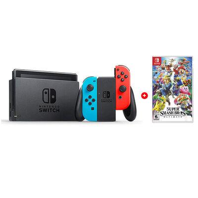 Combo Consola Nintendo Switch Neón + Juego Mario Super Smash Bros