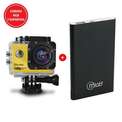 Cámara Web y Deportiva Microlab iSport Pro Cam HD Amarilla + Batería Externa Portátil