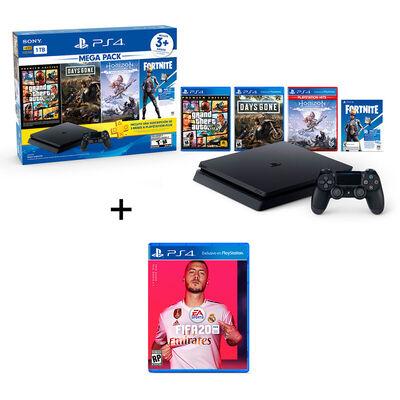 Bundle Mega Pack PS4 Slim 1TB + Control + 3 Juegos + FIFA 2020 + Cupón Fortnite