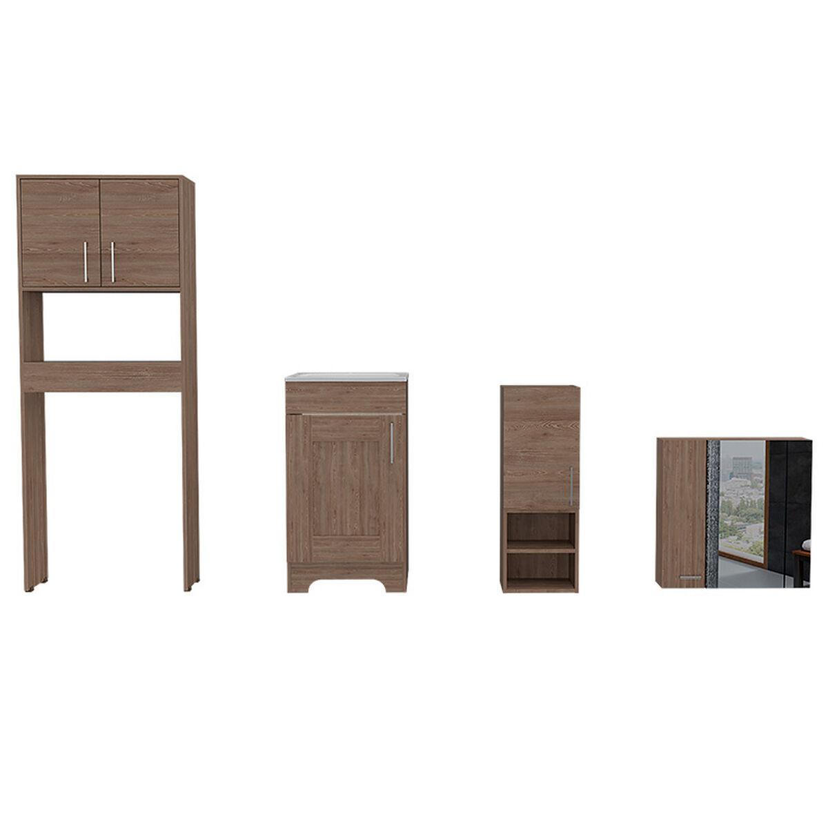 Set Muebles Ahorrador + Lavamanos + Auxiliar + Gabinete Espejo