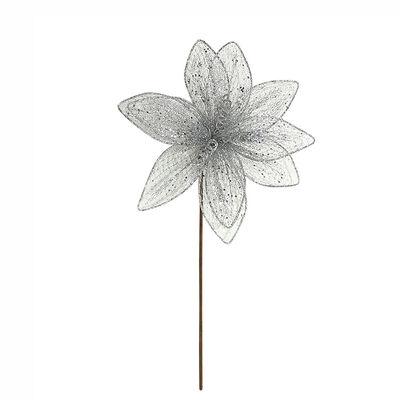 Flor Deco Plata Santini 30 cm
