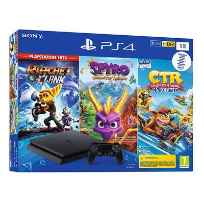 Consola PS4 1TB + 1 Control Dualshock + 3 Juegos Ratchet & Clank, Spyro: Reignited Trilogy y Crash Team Racing: Nitro Fueled