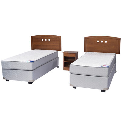 Doble Box Spring Therapedic 1 Pl Flex + Muebles Juvenil