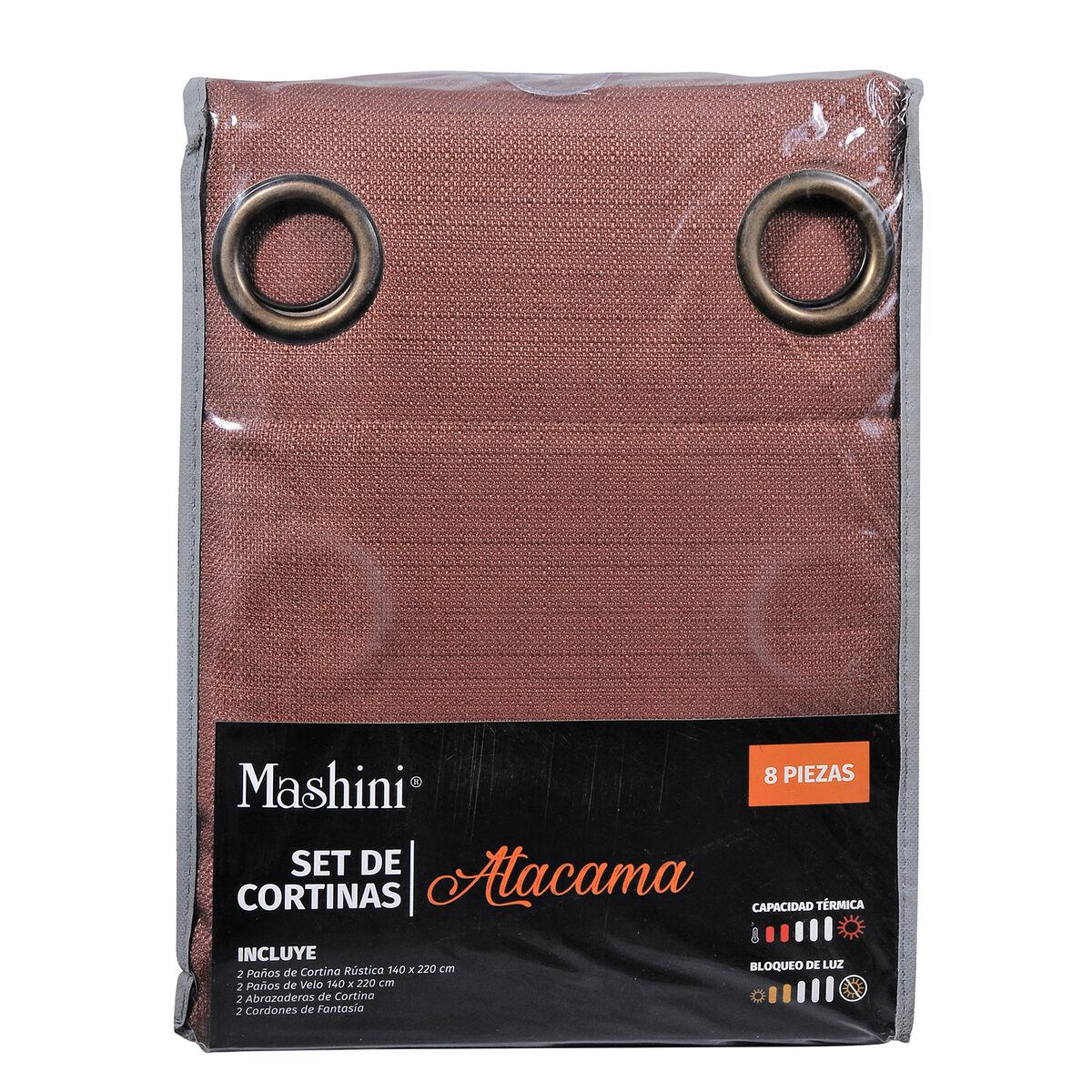 Set Cortina Jqd Rustica 8Pzas Argolla 140X220 Cm Atacama Cafe