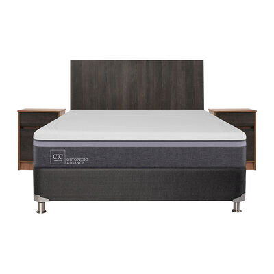 Box Spring CIC 2 Plazas Ortopedic Advance + Velador + Respaldo