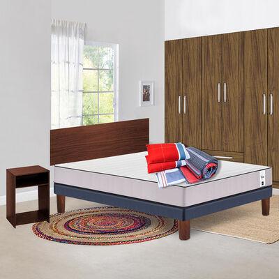 Cama Europea Cic New Titan 2 Plazas  + Set Maderas Nogal + Set Textil 2 Plazas + Sábanas + Almohadas + Clóset Nogal 6 Puertas 2 Cajones