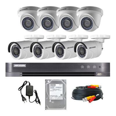 Kit Cámaras de Seguridad Hikvision CCTV 4 Cámaras 8 Canales KIT 8ch HD 720P