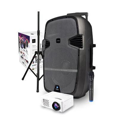 "Parlante Karaoke Portátil Microlab Heavy Bass 15"" + Proyector LED"