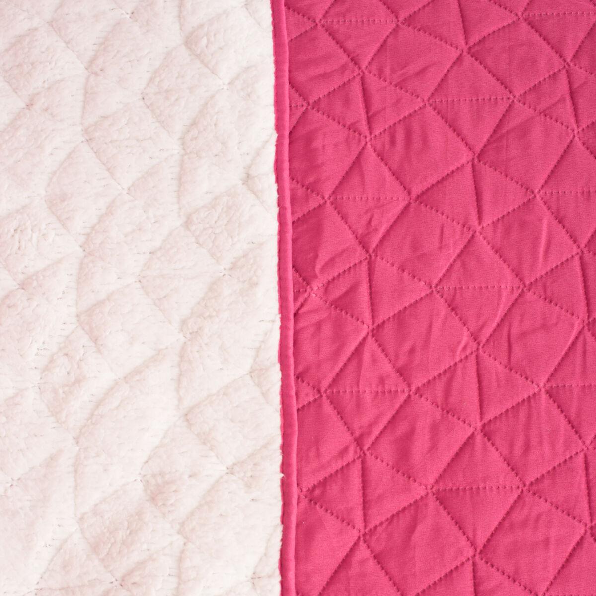 Cubrecama Heat Press Sherpa Stone Pink 1,5 Plazas