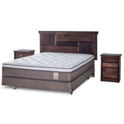 Box Spring Rosen New Style 6 2 pl + Set de Maderas Domenico