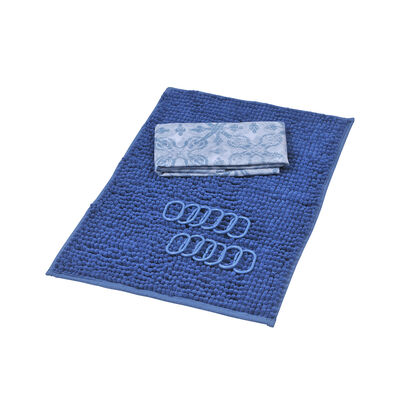 Set Cortina de Baño 3 Piezas + Piso Mashini Trebol Azul
