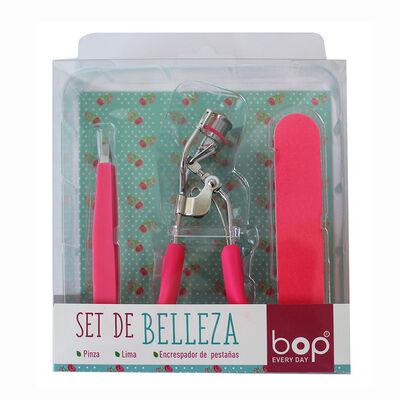 Set de Belleza con Encrespador, Pinza y Lima Fucsia