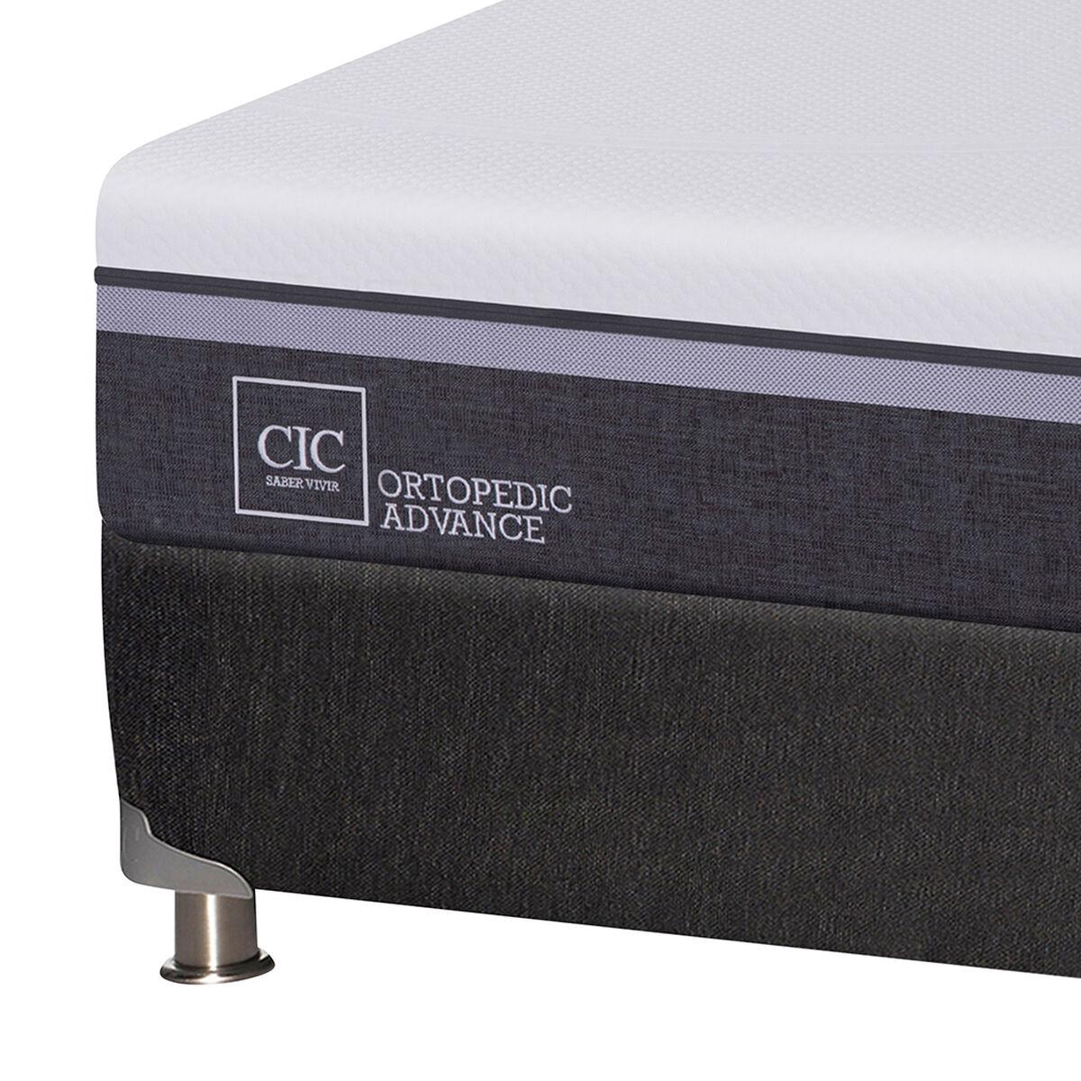 Box Spring CIC 1,5 Plazas Ortopedic Advance + Respaldo + Velador New Dublin