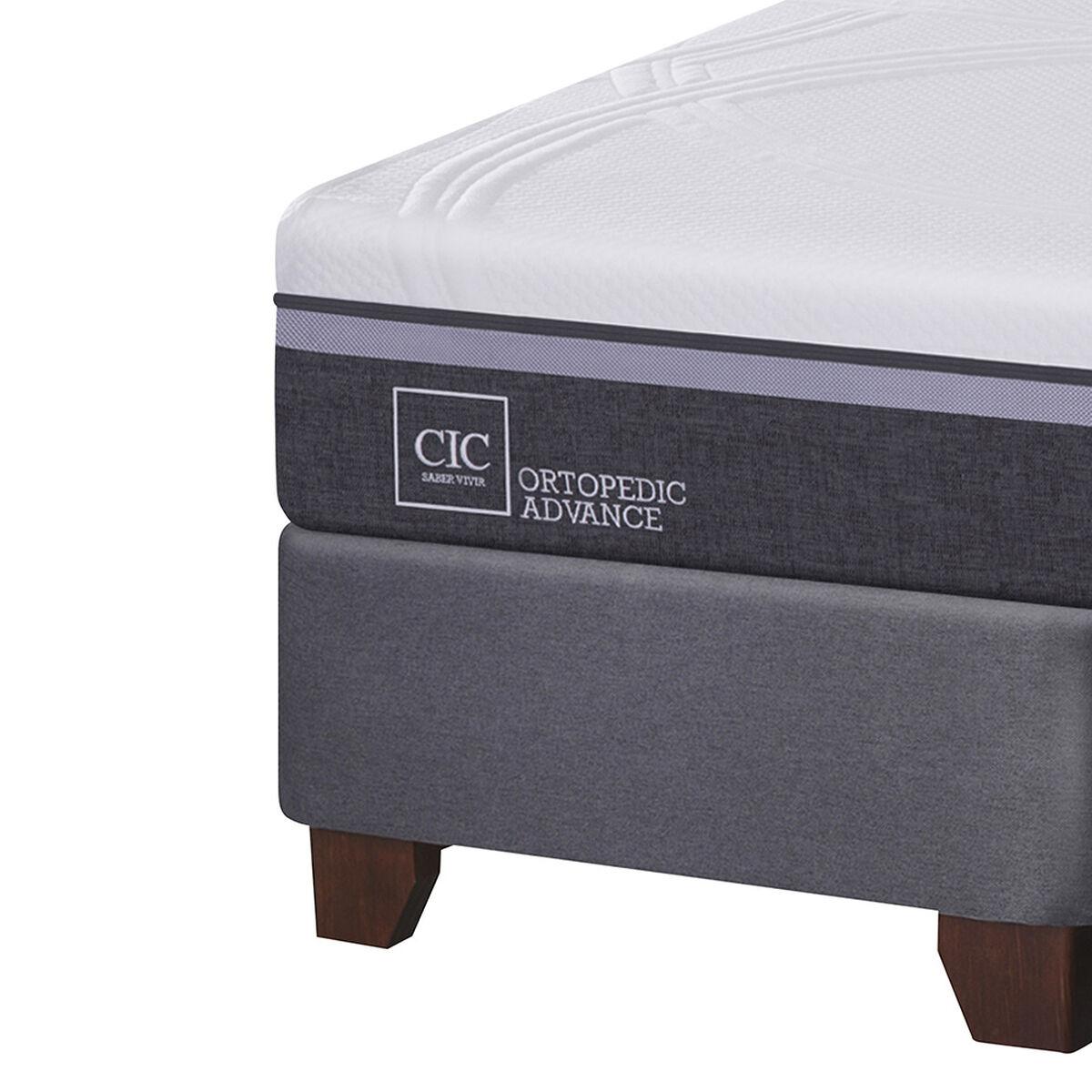 Box Spring Ortopedic Advance King Base Dividida + Mueble + Respaldo Baker