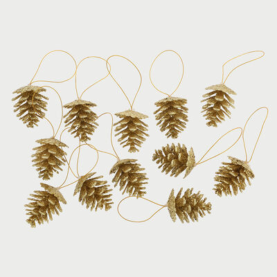 Set Piñas Decorativa Dorado 12 Piezas