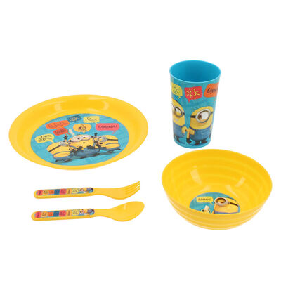 Set 5 Piezas Vajilla Infantil Minions Amarillo