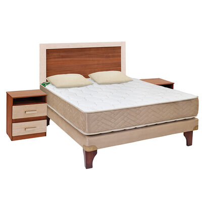 Cama Europea Celta 2 Plazas Base Normal Bamboo + Set Madera Alicante + Almohadas