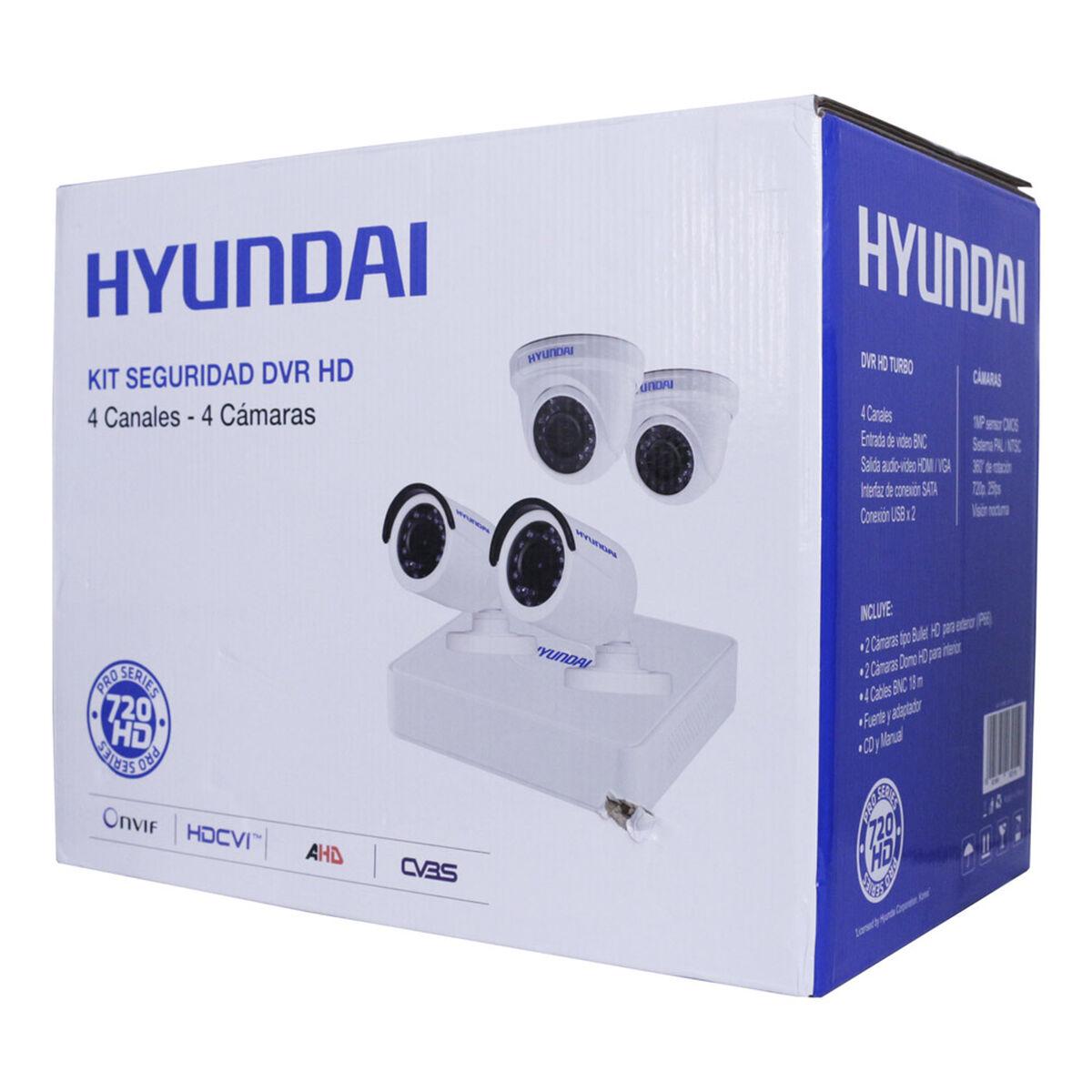 Kit 4 Cámaras de Seguridad Hyundai HY-DVR4CH DVR HD