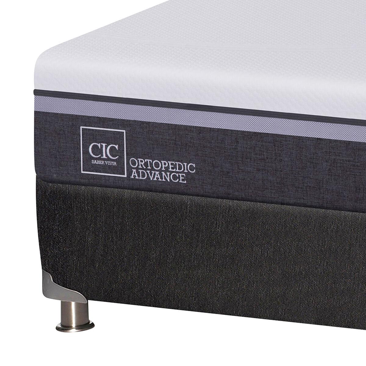 Box Spring CIC Base Dividida King Ortopedic Advance + Respaldo + 2 Veladores Baker + Almohada + Plumón