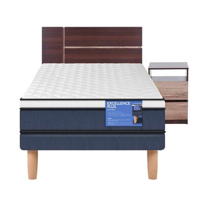 Cama Europea 1 Plaza Excellence Plus + Mueble + Respaldo
