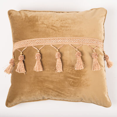 Cojín Velvet con Flecos Oro 45 x 45 cm