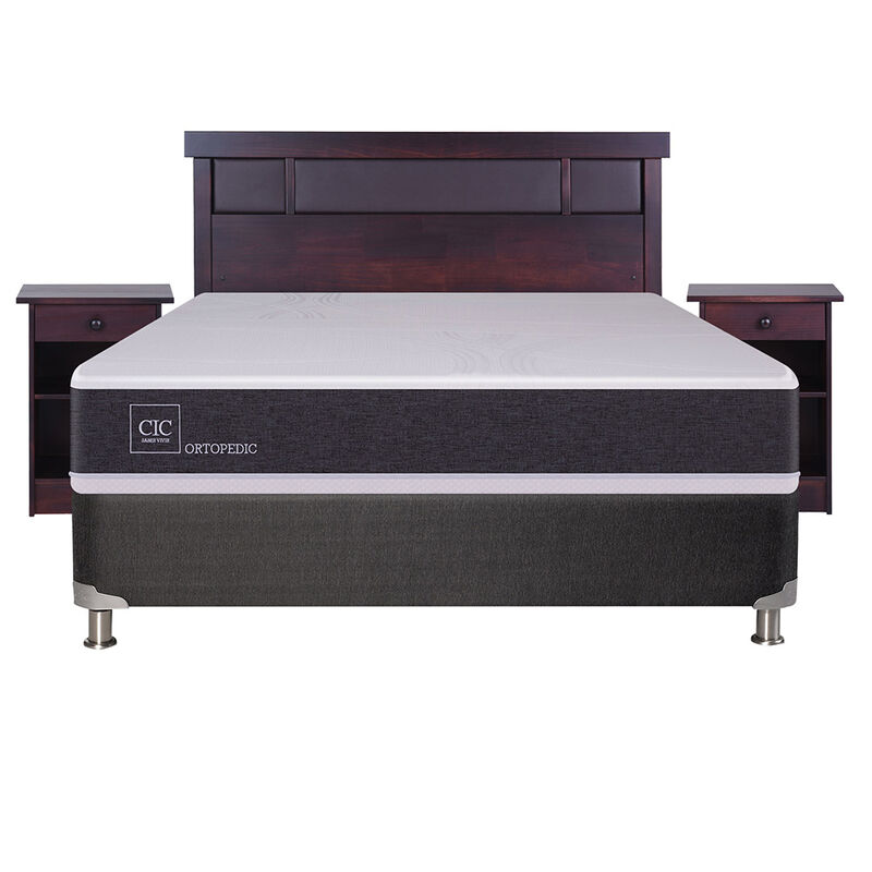 Box Spring 2 Plazas Ortopedic + Set Maderas Dublin