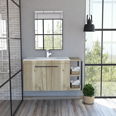 Mueble de Lavamanos Flotante + Espejo TuHome Khari