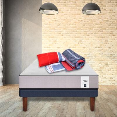 Cama Europea Cic 1,5 Plazas New Titan  + Set Textil Casanova 1,5 Plazas + 1 Almohada