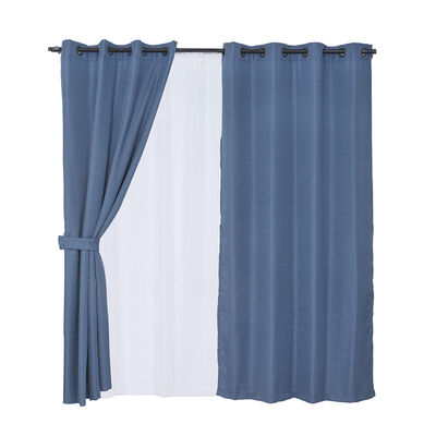 Set 8 Piezas Cortina Mashini Jacquard Rústica Azul 140 x 220 cm