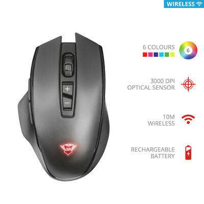 Mouse Gamer Inalámbrico Recargable GXT140 Manx Trust