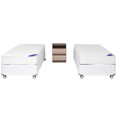 Doble Box Americano New Entree 1 Pl Flex + Velador Milano