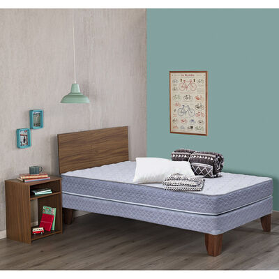 Cama Celta Europea New Atlantis 1 Plaza + Set Madera Nogal + Set Textil 1,5 Plazas Plumón + 1 Almohada + Sábanas