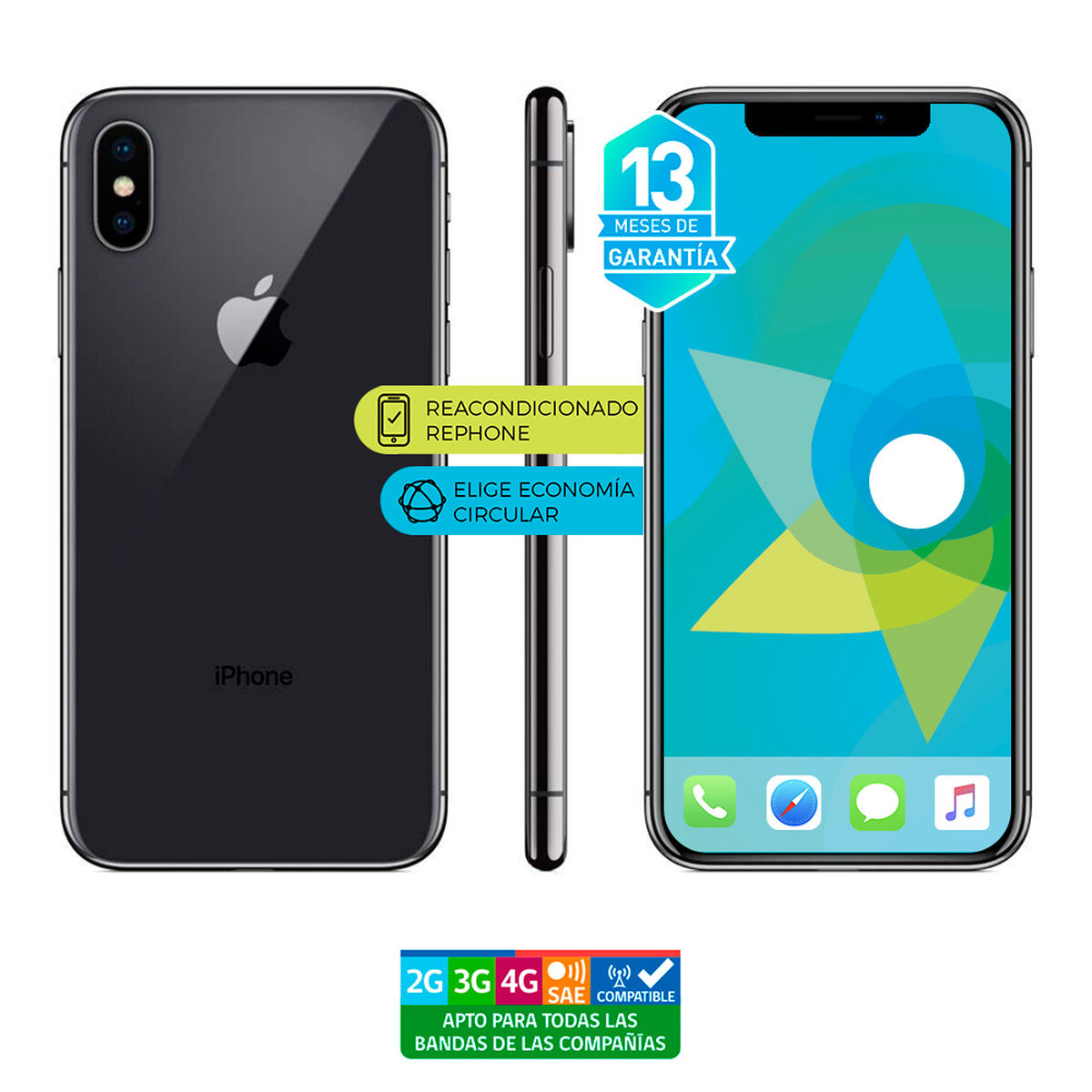 "Celular Apple Iphone X 64GB 5.8"" Reacondicionado Gris Liberado"