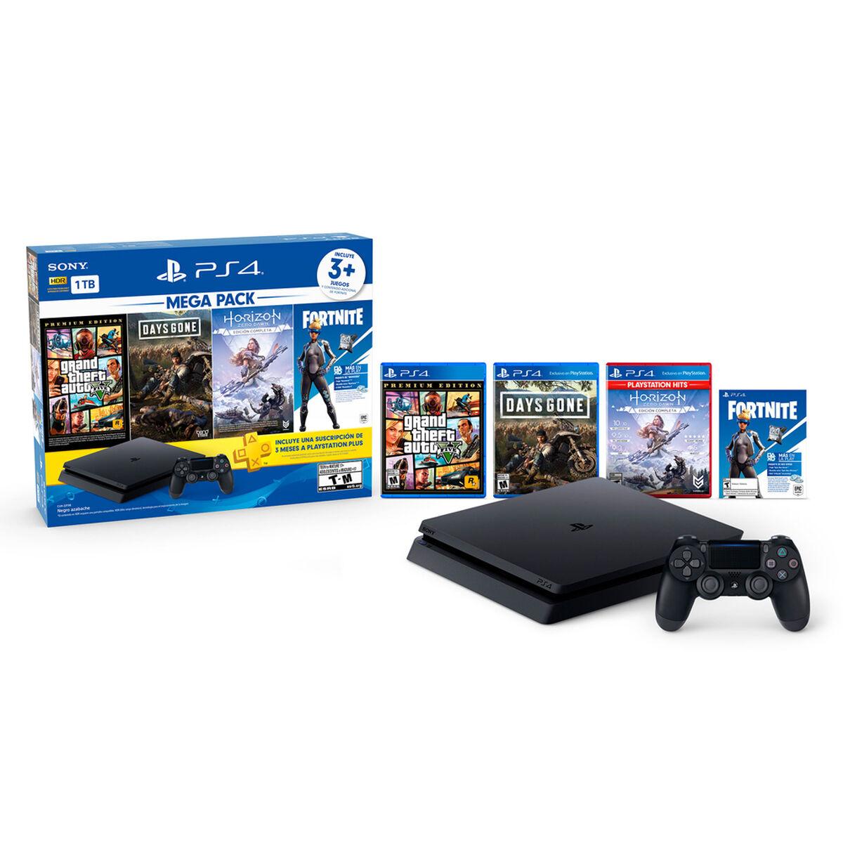 Bundle Mega Pack PS4 Slim 1TB + Control Dualshock4 + 3 Juegos + Cupón Fortnite Voucher
