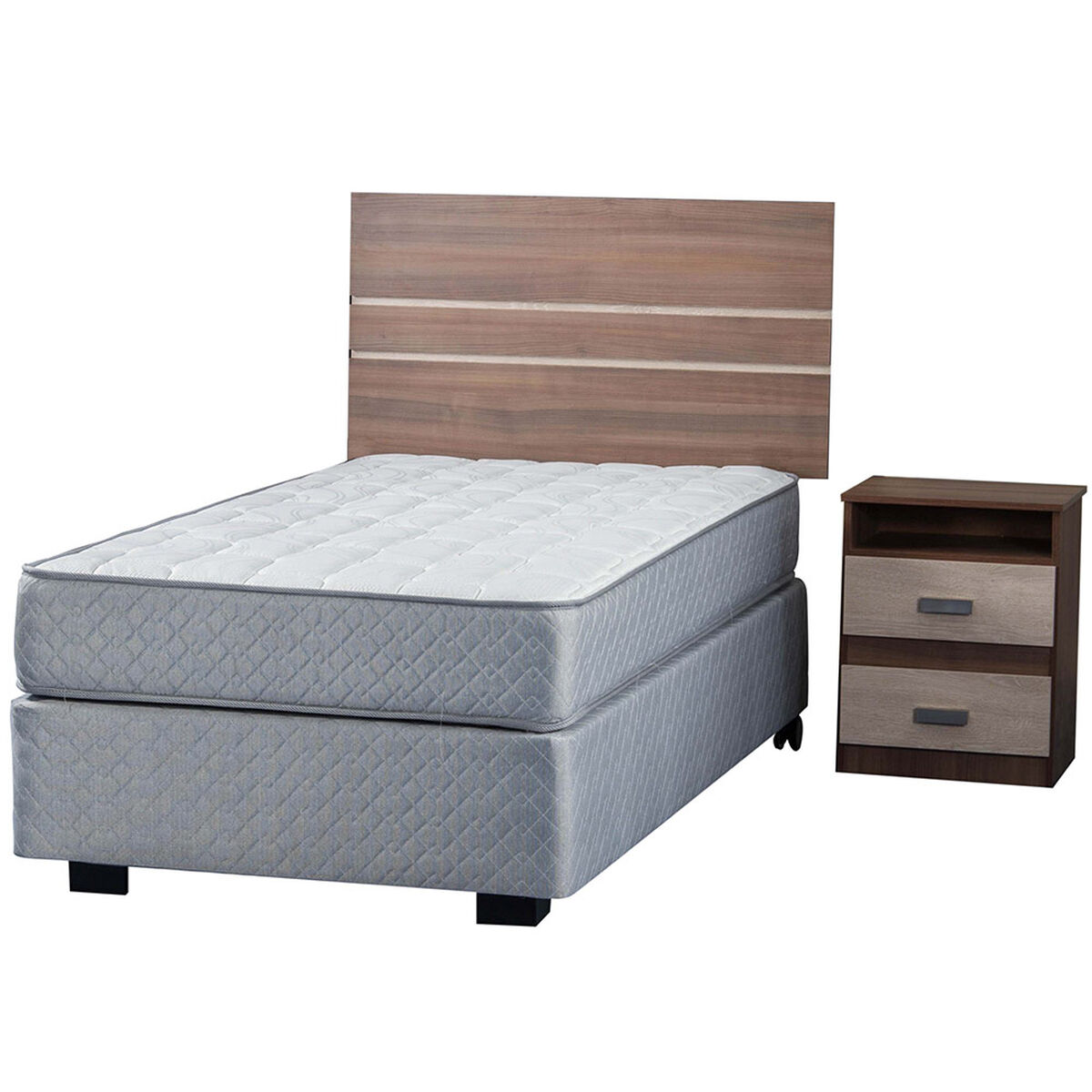 Box Spring Therapedic 1,5 Pl Flex + Muebles Milano