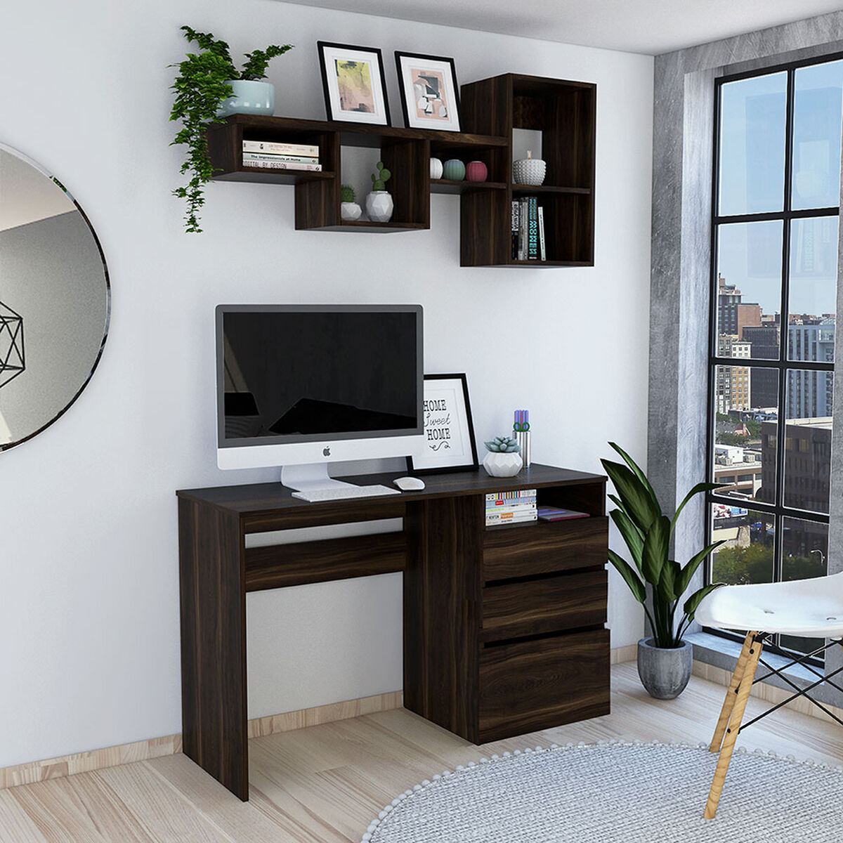 Escritorio Office 7  + Repisa Wall 1A