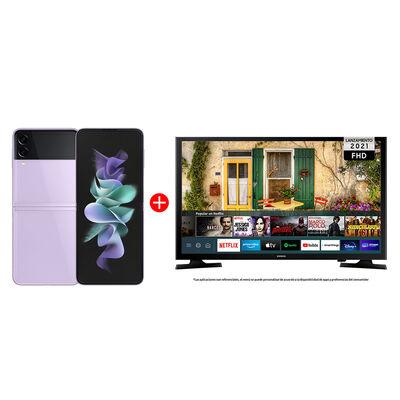 "Combo Celular Samsung Galaxy Z Flip3 5G 256GB Lavender + LED 40"" Samsung T5290 Smart TV FHD"