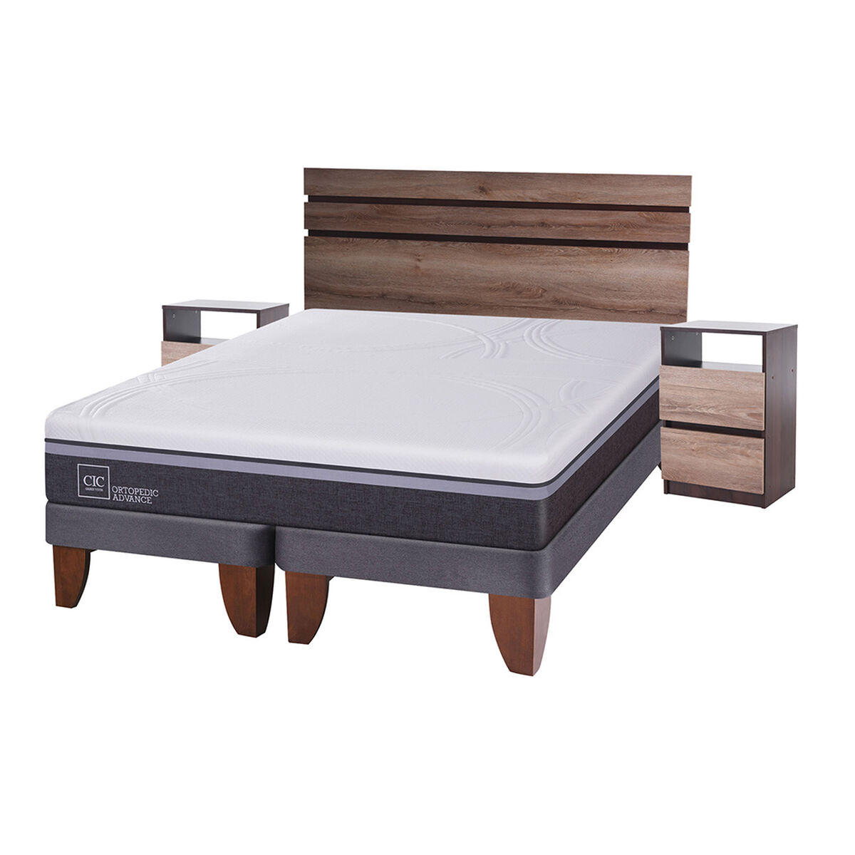 Cama Europea King Div Ortopedic Advance + Set Maderas Ares