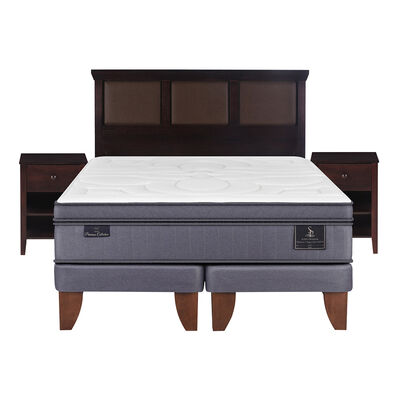 Cama Europea Super Premium King Base Dividida + Mueble + Respaldo New Torino Choc