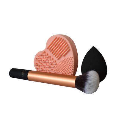 Set  Brocha, Esponja de Maquillaje y Limpia Brochas