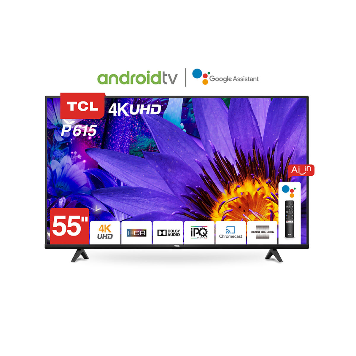 """LED 55"""" TCL 55P615 Android Smart TV 4K UHD"""