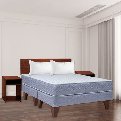 Combo Cama Europea Celta 2 Plazas New Atlantis + Set Maderas Casanova Nogal + Pack Almohadas Celta Imperial Soft