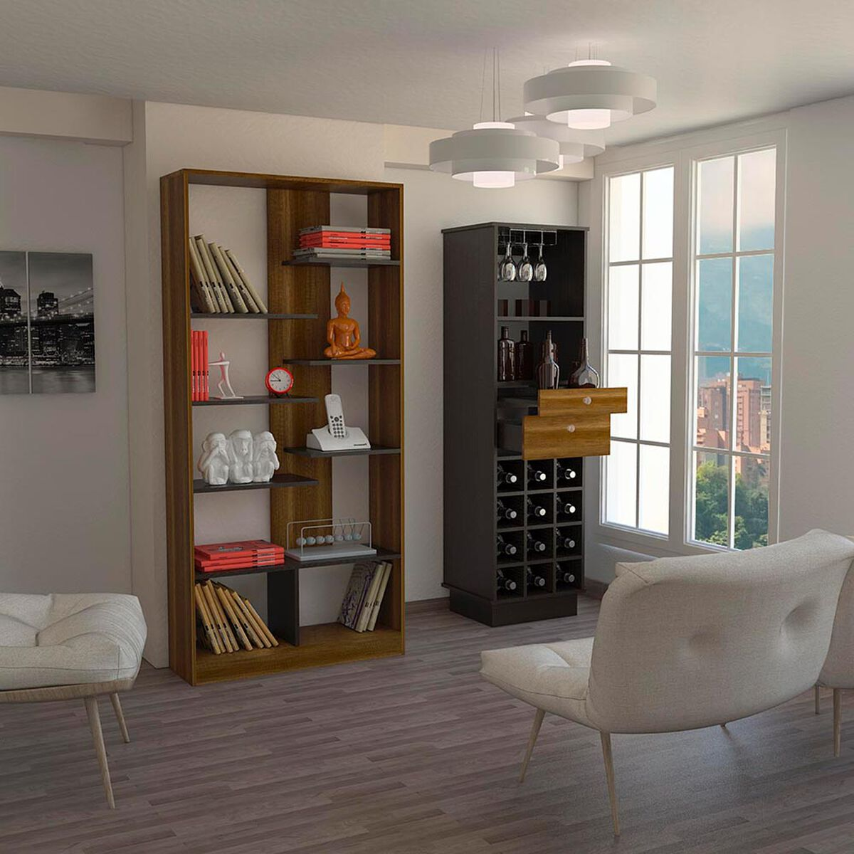 Mueble Bar +Biblioteca TuHome Classic
