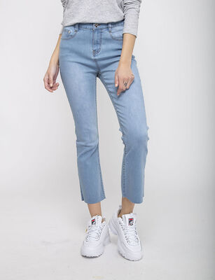 Jeans Indigo Cropped Flare Mujer